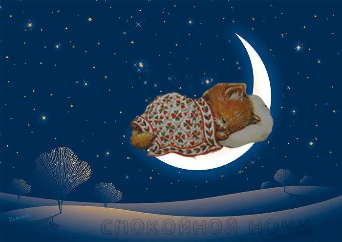 Открытки спокойной ночи красивые анимированные со звездами зима