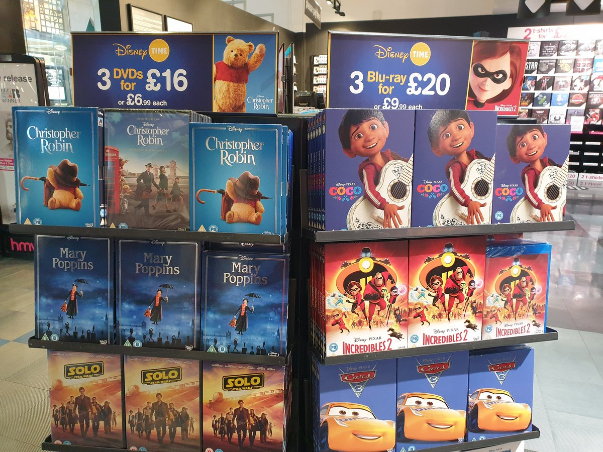 We&#39;ve had some new additions to our Disney multi buy deal - #ChristopherRobin, #MaryPoppins, #Coco and #Incredibles2. Grab 3 DVDs for £16 or 3 Blu Ray&#39;s for £20 #Disney<br>http://pic.twitter.com/bwpMnQrGdq