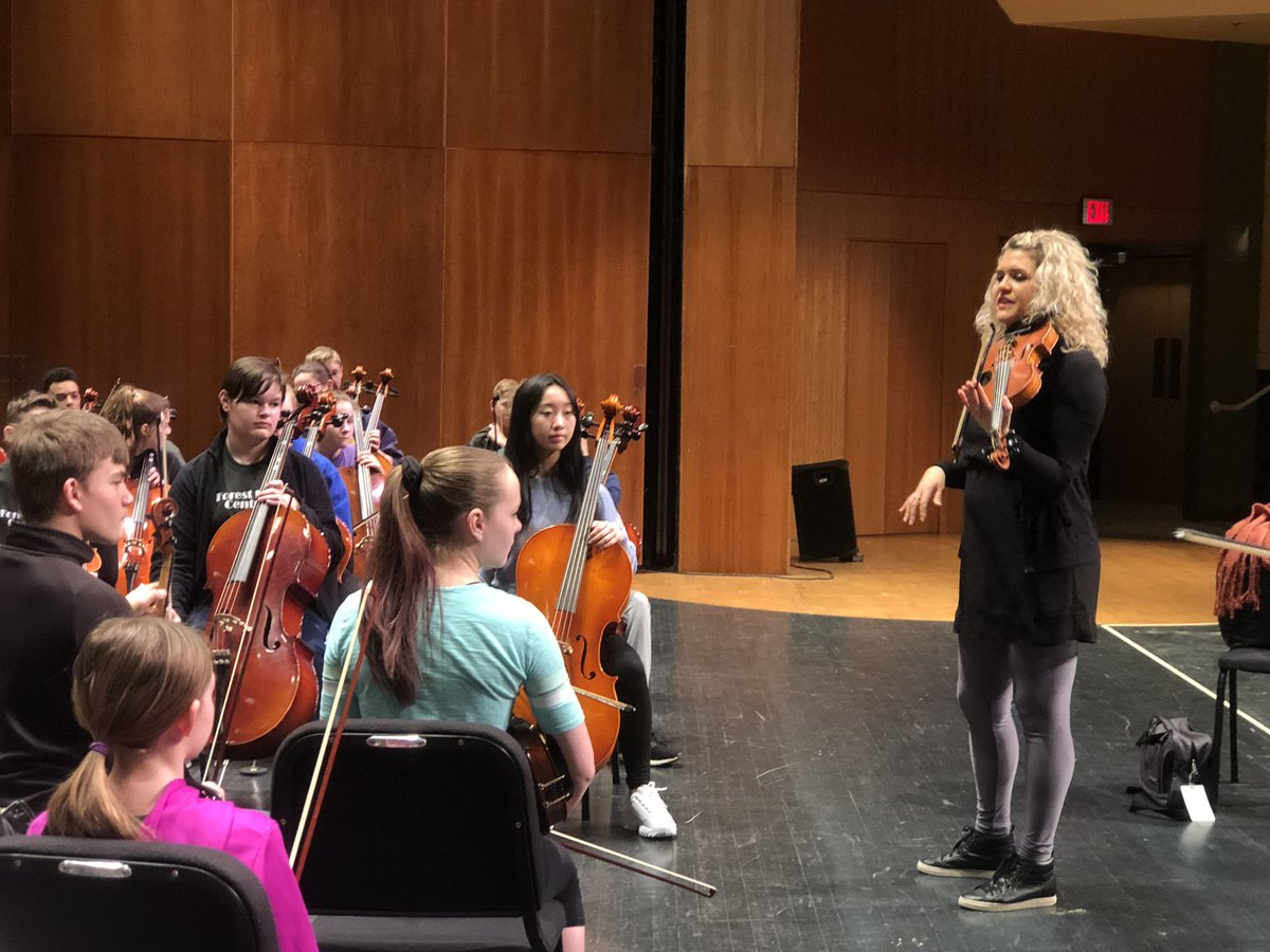 FHC orchestra students in grades 6-12 are learning from @TheMoxieStrings today and collectively they will perform a concert with @TheMoxieStrings @FHFAC tonight, March 19 at 7 p.m. What a great day of learning!<br>http://pic.twitter.com/3V0uUpiUPK