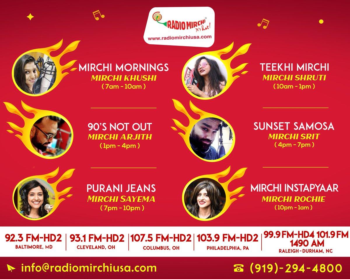 USARadioMirchi Today Radio Mirchi USA live programs list