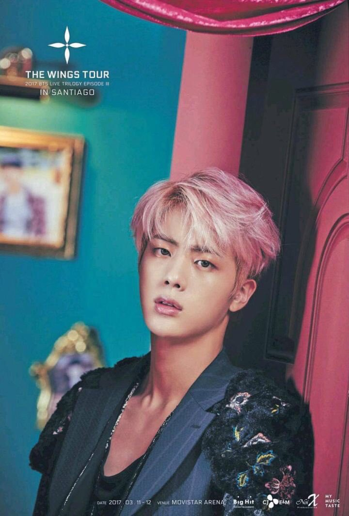 Still one of my favorite pictures of Jin. What a look. The pink hair. The facial expression. The clothes. The chest. Whew. <br>http://pic.twitter.com/3xset9x6td