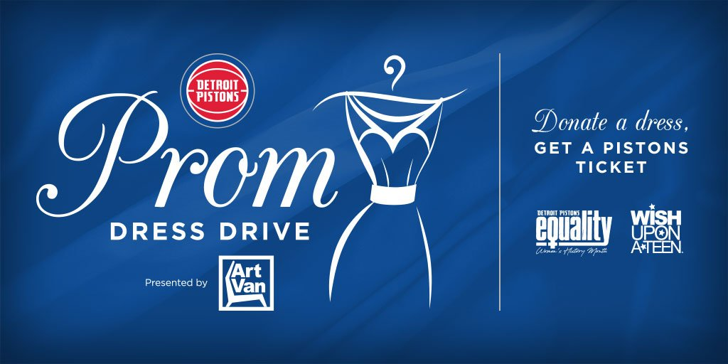 Donate a prom dress at a participating @artvan location and get a ticket to a Pistons game!  Details: http://Pistons.com/promdressdrive @WishUponATeen