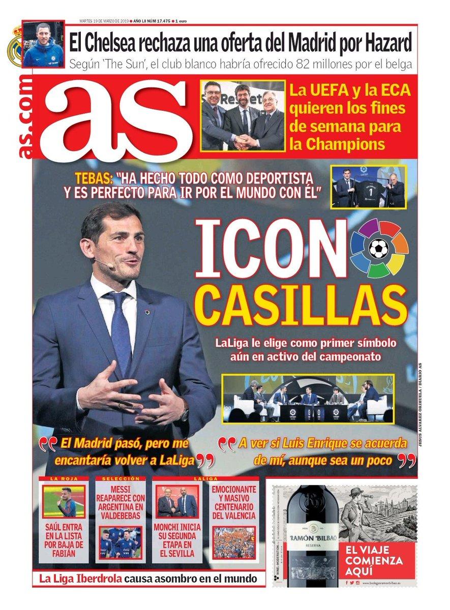 Foto de #Portada del @diarioas (19-03-19): Icono Casillas 🗞📰 #portadaAS #LaLigaIcons ・ ・ ・ #IkerCasillas #Iker #Casillas #Icon #RMFans #LaLiga #football #soccer #cover #frontpage #goal #goals #fútbol #calcio #giornale #футбол #足球 #축구 #fussball #futebol #Canon #DiarioAS