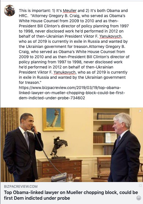 Q - I am thinking you might find this interesting.  I consider this to be a tell. This is not being covered much - Asking all to Please Forward. https://www.bizpacreview.com/2019/03/19/top-obama-linked-lawyer-on-mueller-chopping-block-could-be-first-dem-indicted-under-probe-734602…  #MuellerReport #QAnon #Hillary #Comey #MAGA #POTUS #Obama