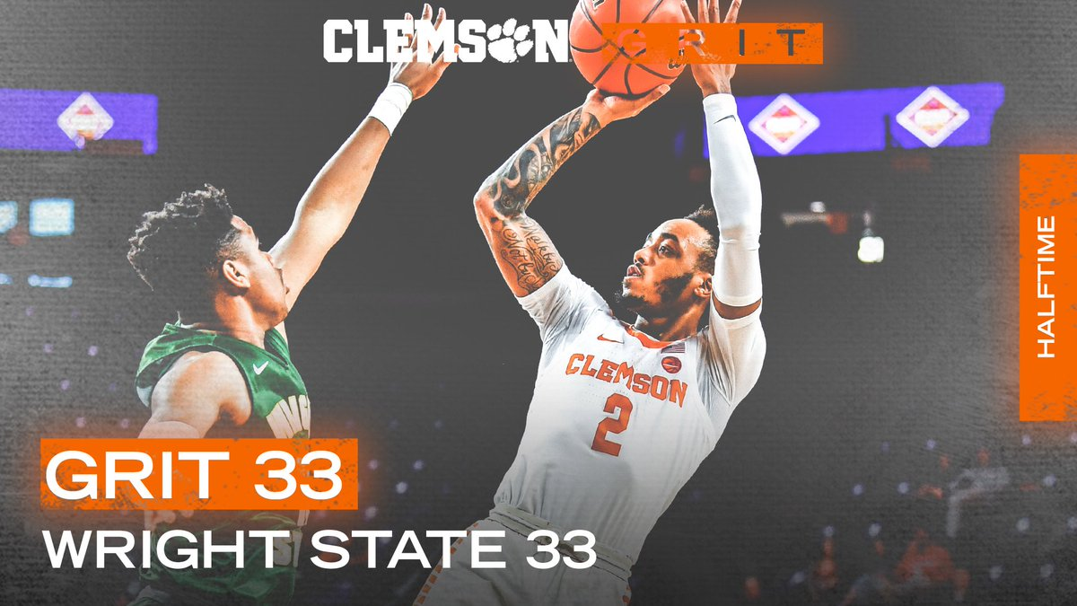 Tied up at the half here in Littlejohn.  Reed: 14 pts, 7-13 FG, 19 mins  #ClemsonGRIT💪