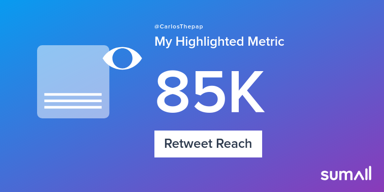 My week on Twitter 🎉: 59 Likes, 4 Retweets, 85K Retweet Reach. See yours with https://sumall.com/performancetweet?utm_source=twitter&utm_medium=publishing&utm_campaign=performance_tweet&utm_content=text_and_media&utm_term=fb77147e1e448f142fd15d9d …