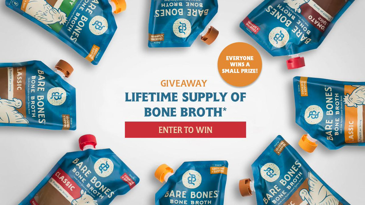 #Giveaway - Ends 4/4 - Win FREE  Lifetime Supply of Bare Bones Bone Broth! https://wn.nr/89gCVc  #contest #win #free #food #broth #sweeps