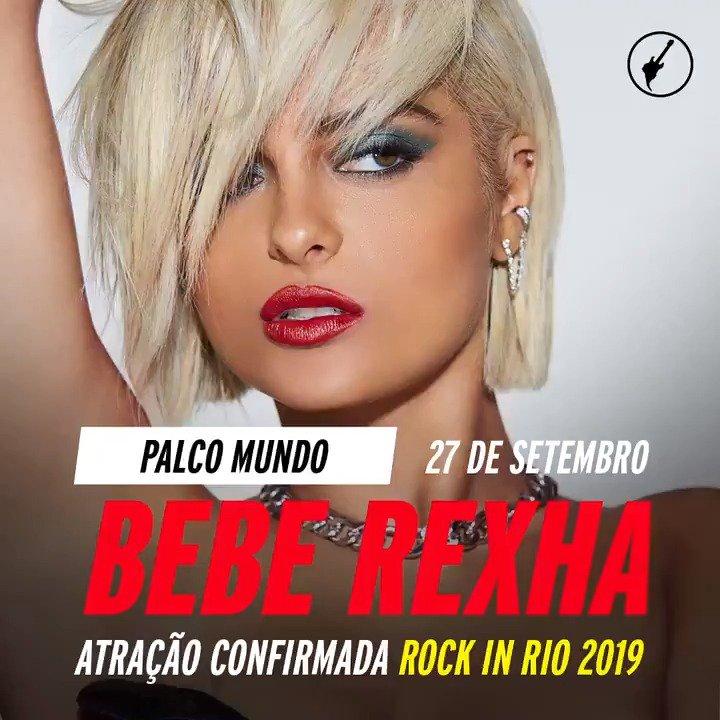 Mais uma atração incrível confirmada no line-up do #RockinRio2019. A talentosíssima hitmaker @BebeRexha. Vai ter pop e muito hit no dia 27 de setembro! It's Meant To Be. #lineup