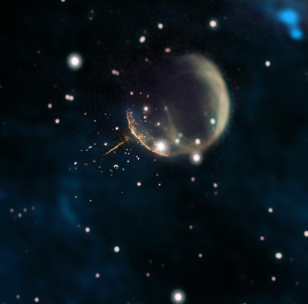 Good thing there are no traffic cameras in space! Astronomers found a pulsar hurtling through space at nearly 2.5 million miles an hour — so fast it could travel the distance between Earth and the Moon in just 6 minutes. Learn more about this discovery:  https:// go.nasa.gov/2FonlHy  &nbsp;  .<br>http://pic.twitter.com/U2uzwpt7gs