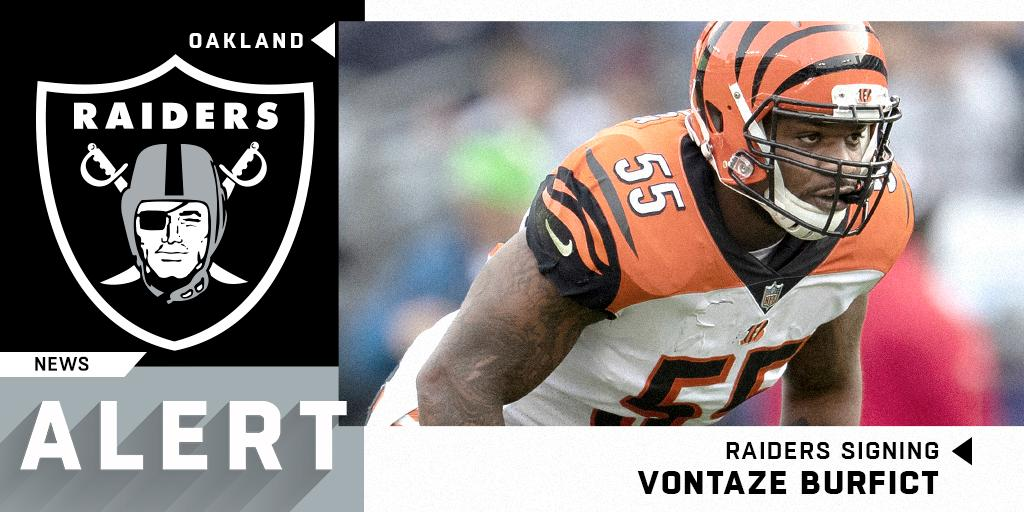 .@Raiders signing LB Vontaze Burfict to one-year, $5M deal.  (via @TomPelissero + @RapSheet)