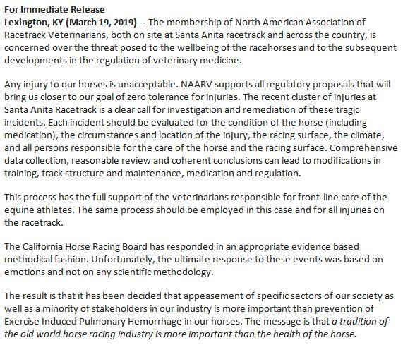 Nat&#39;l racetrack veterinarians group on Santa Anita response to horse deaths:  Curtailing Lasix won&#39;t reduce injury rates in horses. <br>http://pic.twitter.com/n6eTIBhHyj