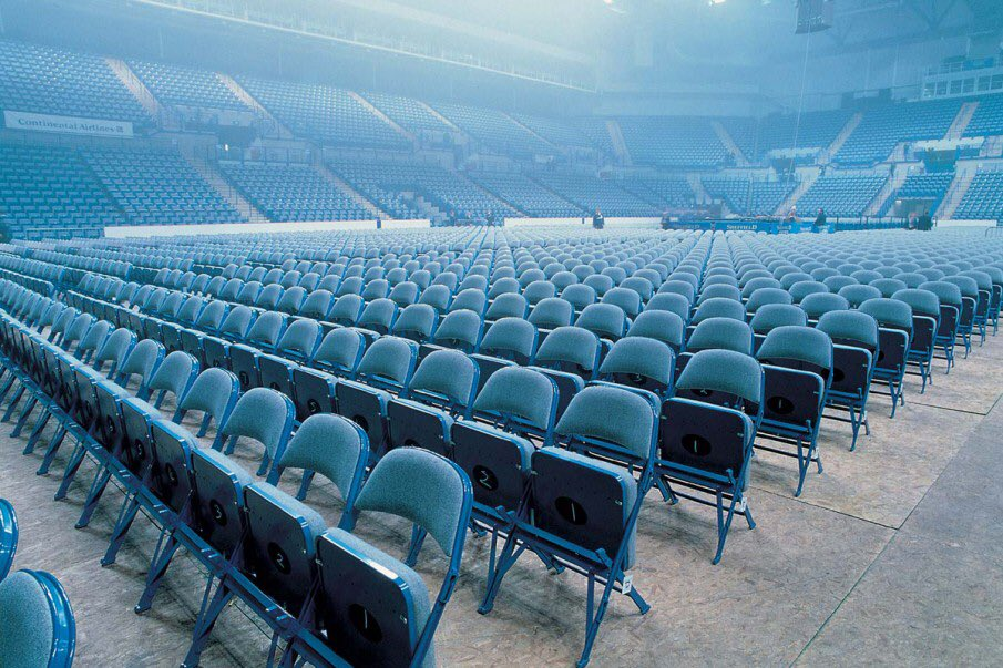 This sea of blue folding chairs is event ready at @SheffieldArena. For more information on our event seating options, contact our expert, Anthony Sirkett, at  Anthony@sandlerseating.com  #eventready #audienceseating