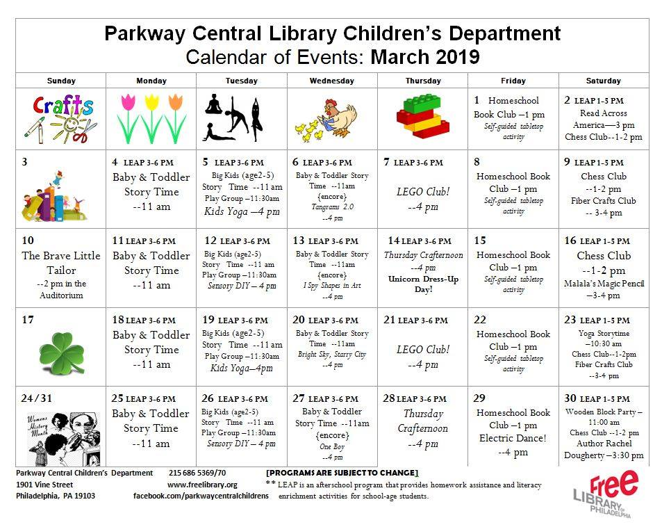 We've got a lot happening this month! Check out our calendar of events for March!  #FLPkids #library #Philly #programming #crafts #storytime #LEGO