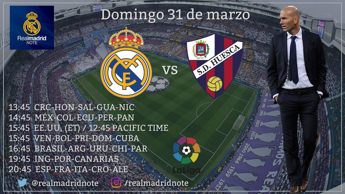 PRÓXIMO PARTIDO    ⚽️ Real Madrid 🆚 Huesca 📆 Domingo 31 de marzo ⌚️ 20:45 (Esp) 🏆 La Liga #RMLiga  ➕ Sigan @realmadridnote  ¡COMPARTAN CON RT!