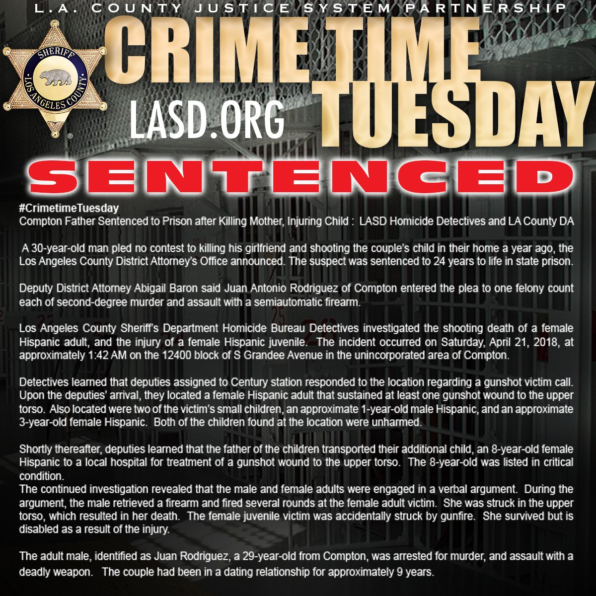 #CrimetimeTuesday #Compton Father Sentenced to Prison after Killing Mother, Injuring Child:  #LASD Homicide Dets & @LADAOffice  https://www.facebook.com/LosAngelesCountySheriffsDepartment/posts/2672407966119433?__tn__=-R…