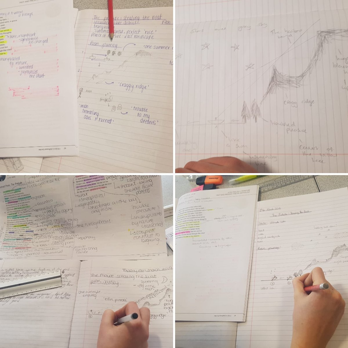 Mrs Griffiths' Y10s have been mapping the journey of the poem 'The Prelude' today, focusing on structural features #poetry #gcse #proudteacher