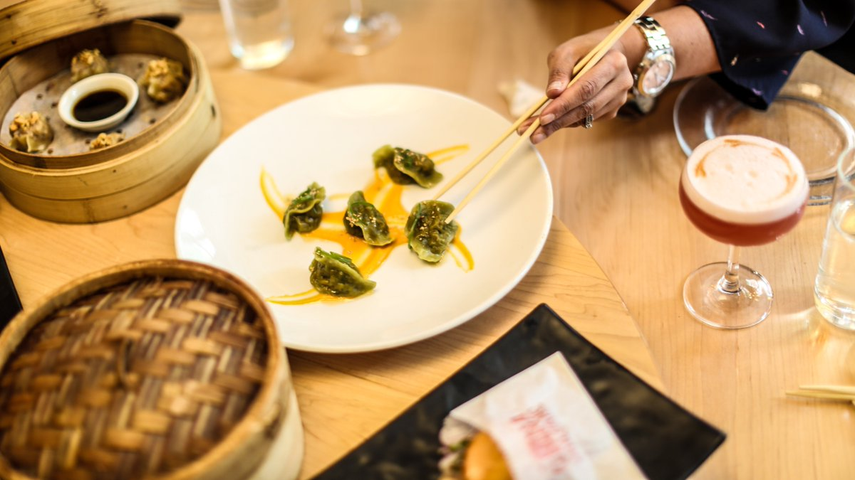 Get your #DimSumTuesday 🔛  with our #Jiaozi de la Chacra dumplings 🥢 Made with cilantro dough and filled with yellow potato, rocoto pepper, & spring veggies #yumyumdimsum