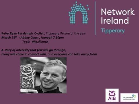 Tipperary Person of the Year, Paralympic Cyclist, Peter Ryan will be speaking at our next event in Great National Abbey Court Hotel on Tuesday 26th of March at 7.30pm.  The event is free to members and €10 to non members. Looking forward to seeing you there on the night. <br>http://pic.twitter.com/VWWwcZYALT