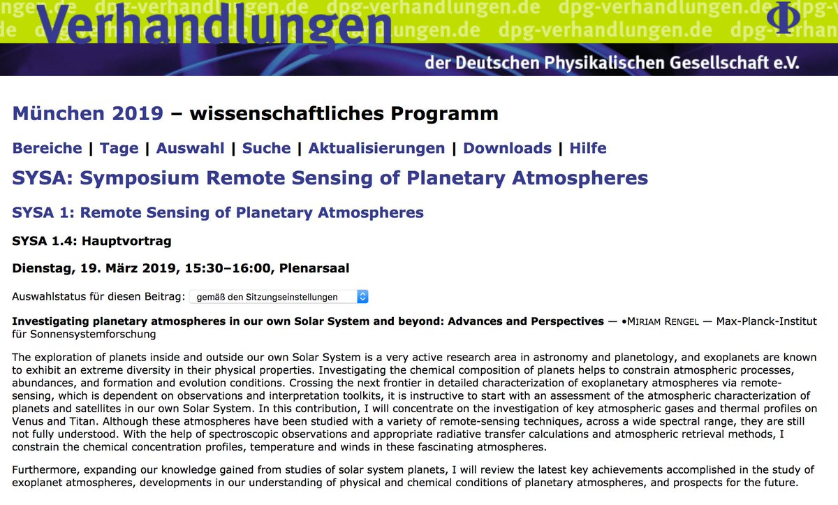 Day 2 of the DPG Spring Conference in Munich is complete, and my invited talk (on planetary atmospheres in our own Solar System and beyond) is already presented. Great Symposium on Remote Sensing of Planetary Atmospheres!