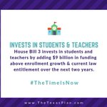 By adding $9B in funding above enrollment growth & current law entitlement, #HB3 invests in student achievement and teacher quality. Texas classrooms must have the resources they need to turn today's students into tomorrow's workforce. #txlege #TheTimeIsNow