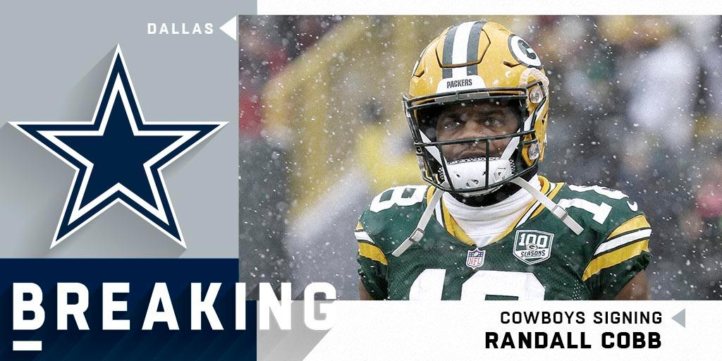 WR Randall Cobb (@rcobb18) to sign with the @dallascowboys on a one-year, $5 million deal.  (via @RapSheet)