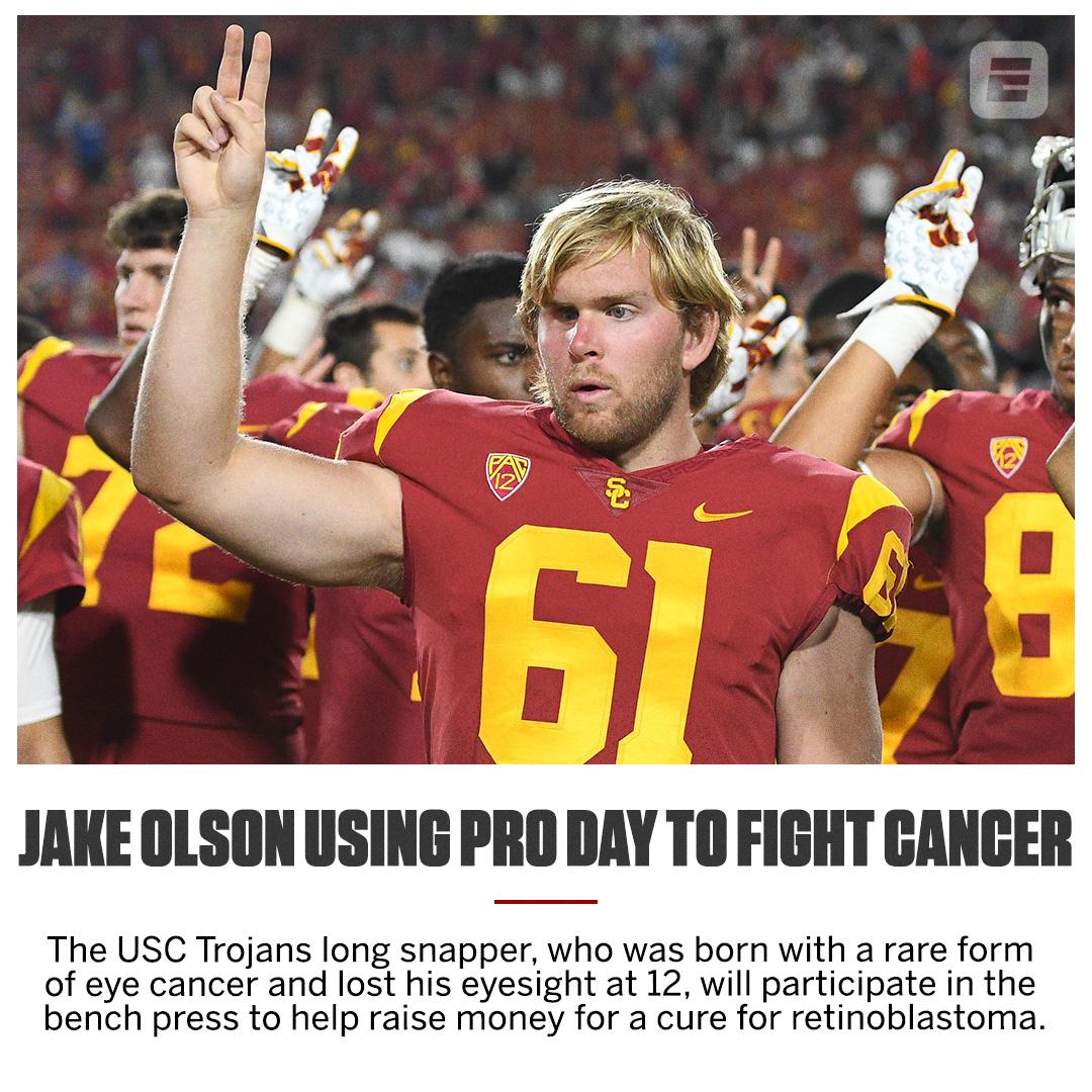 USC long snapper Jake Olson is using the team's pro day for a good cause. (via @BonaguraESPN) https://t.co/TmG7aPQBAE