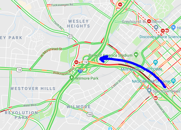 John Belk Freeway is JAMMED AF today... What?  That means jammed APPROACHING FREEDOM Drive... Exit 1-a is OPEN...but Wilkinson remains BLOCKED. #CltTraffic #Charlotte #Clt #NC #SC<br>http://pic.twitter.com/x7uiUDdcjp