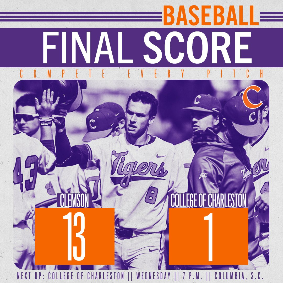 FINAL - For the 12th time in a row, #Clemson answers a loss with a win, this time a 13-1 victory over the Cougars!   STORY -  https:// bit.ly/2HGtpwG  &nbsp;  <br>http://pic.twitter.com/A7Quszmwkx