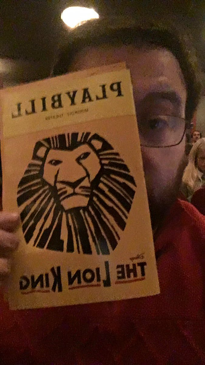 It's @JaegerKev first time seeing @TheLionKing and he's FREAKING OUT!!! #Broadwaybucketlist