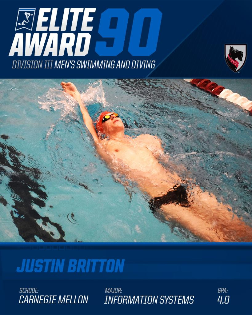 Congratulations to Justin Britton of @CMUswimming and Mikayla Bisignani of @jhuswimming on earning the #Elite90 awards for @NCAADIII swimming and diving!