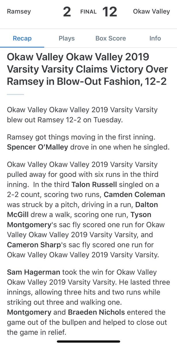 HS baseball is 1-0 after a 12-2 win over Ramsey in their season opener! Good start fellas! #YNotOV<br>http://pic.twitter.com/5U1TfBqeYh