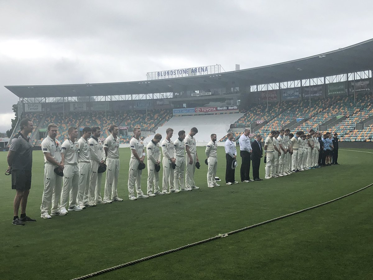 A minute of silence before play with @CricketNSWBlues in honour of those who lost their lives in #Christchurch.    #WeAreTigers #SheffieldShield #TASvNSW