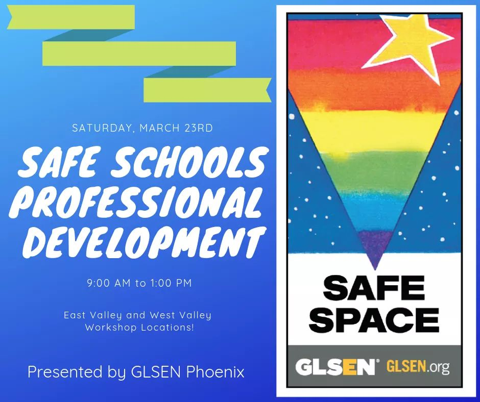 Phx educators, don&#39;t miss this exciting professional development opportunity! @GLSEN_Phoenix will host a Safe Schools Professional Development this Saturday, March 23rd.   West Valley Registration -  http:// bit.ly/2Wavgha  &nbsp;    East Valley Registration -  http:// bit.ly/2TKP3He  &nbsp;  <br>http://pic.twitter.com/X93zDMb9Sj