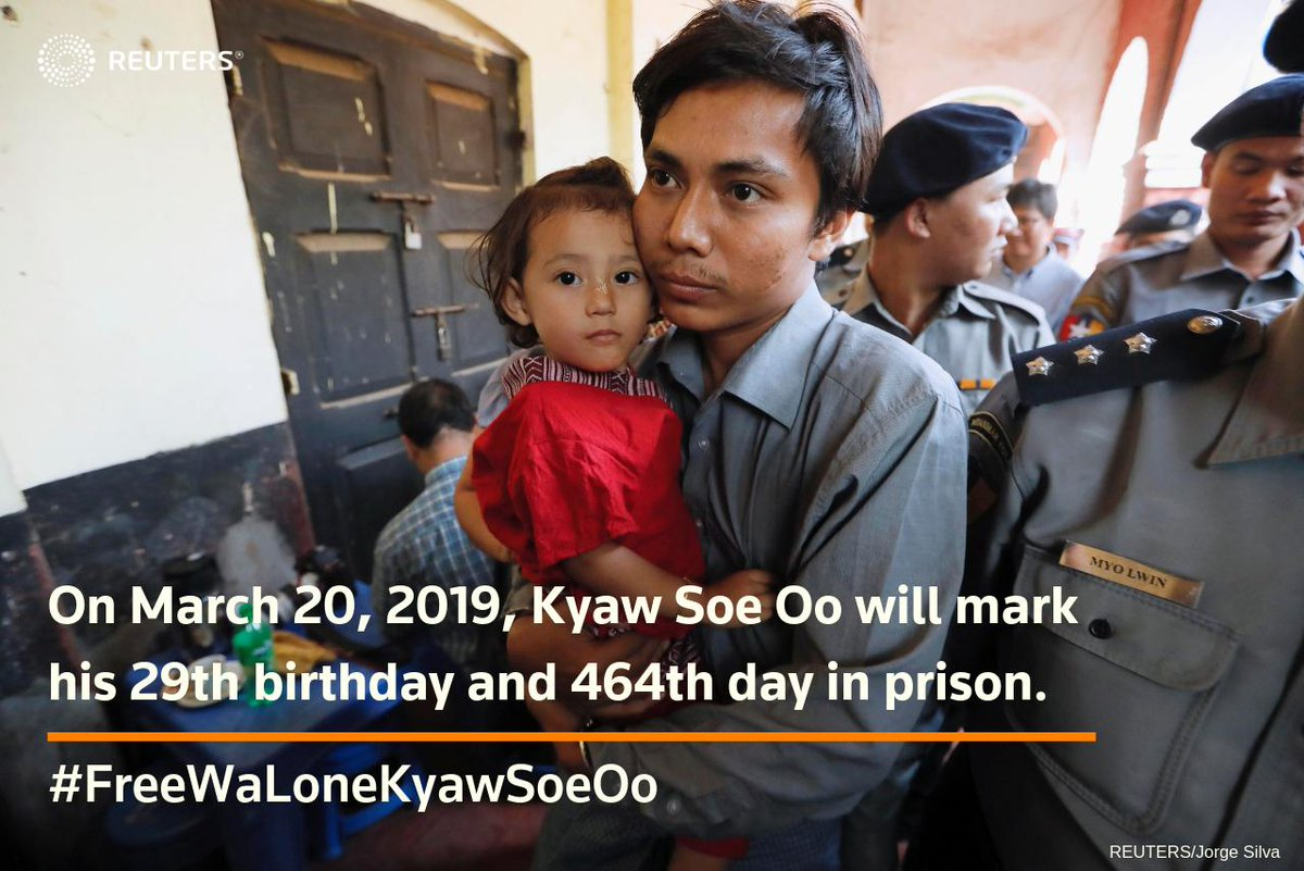 Happy birthday Kyaw Soe Oo. Our jailed @Reuters colleague Kyaw Soe Oo celebrates his 29th birthday today - in a Myanmar jail cell. Please retweet and send Kyaw Soe Oo as many virtual wishes as we can gather! #FreeWaLoneKyawSoeOo