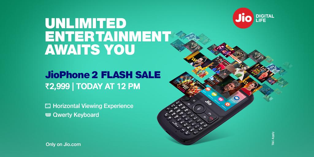 bfef4615d Flash Sale Alert! Buy your  JioPhone2 today at 12 PM.  http   bit.ly    FlashSale pic.twitter.com bzWY6VObVP