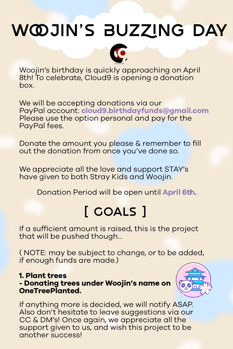 [ Woojin's Buzzing Day ]  Help us buy a tree for Woojin's birthday and fight against deforestation!  Paypal: cloud9.birthdayfunds@gmail.com  Donation form:  https:// bit.ly/2FoouPx  &nbsp;  <br>http://pic.twitter.com/BybTq93uMr