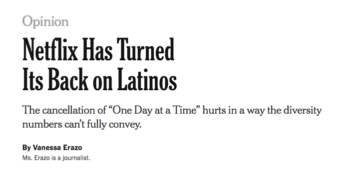 My Op-Ed will be in tomorrow&#39;s newspaper! #SaveODAAT   (March 20, 2019, on Page A27 of the New York edition with the headline: Netflix Shuns Latinos.)  Read the online version:  https://www. nytimes.com/2019/03/17/opi nion/one-day-at-time-cancelled-netflix.html &nbsp; … <br>http://pic.twitter.com/Qq5azPjtr2