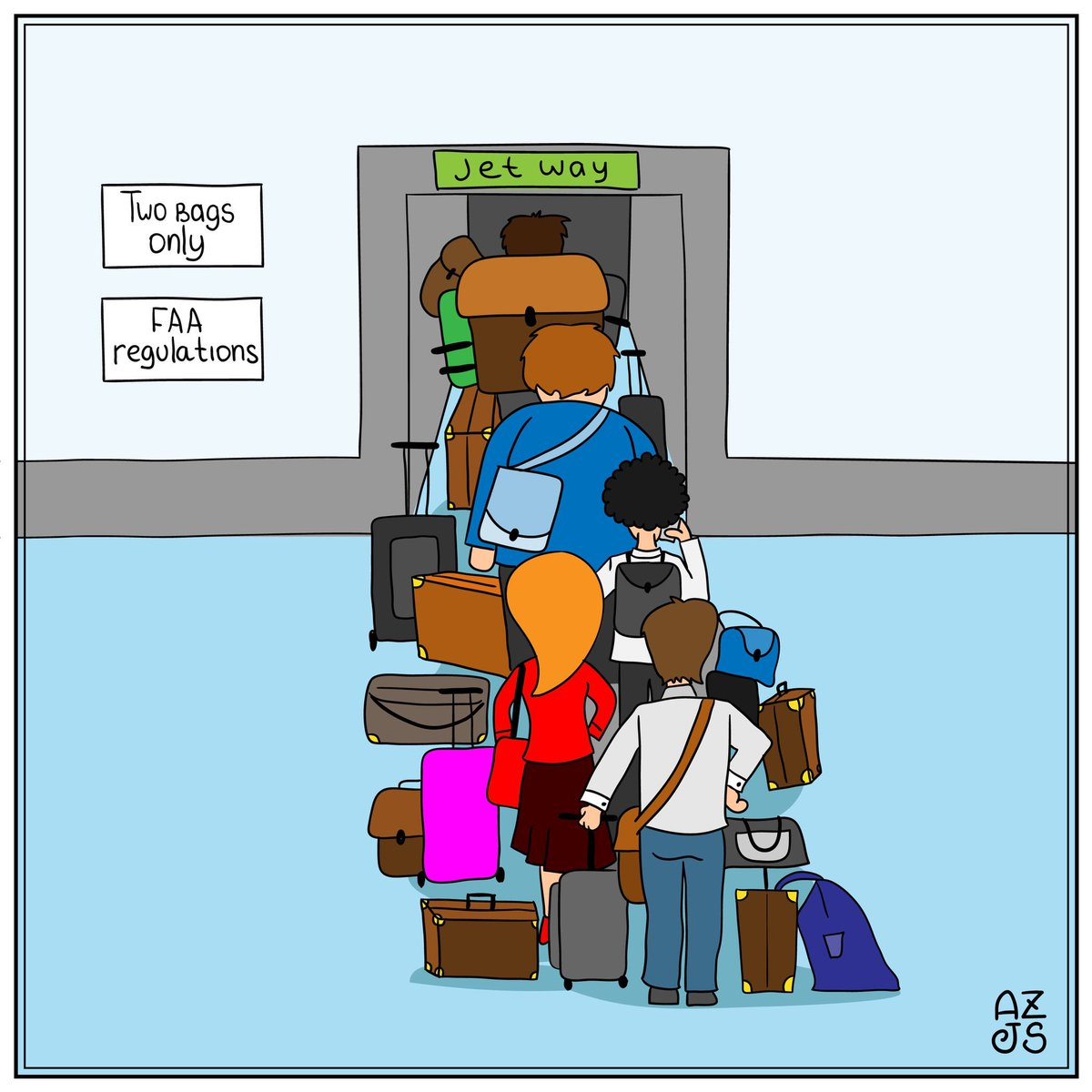 @JonPSanchez Traveler's Life (TM) #travel #travelcartoons #cartoons #airlinehumor #airlinelife #travellife #toomuchbaggage @alex.zhuro #traveler #traveltime #cartoonsbyalexzhuroandjonsanchez #comicstrip #comics #comicstrips #cartoons