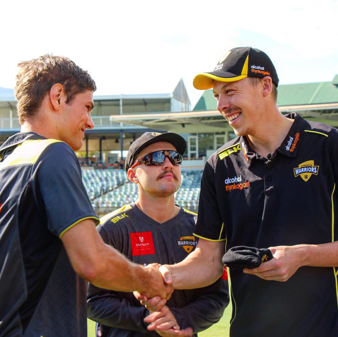 Hardie makes his #sheffieldshield debut today 👏🏼👏🏼 Go well Hards! #WESTISBEST