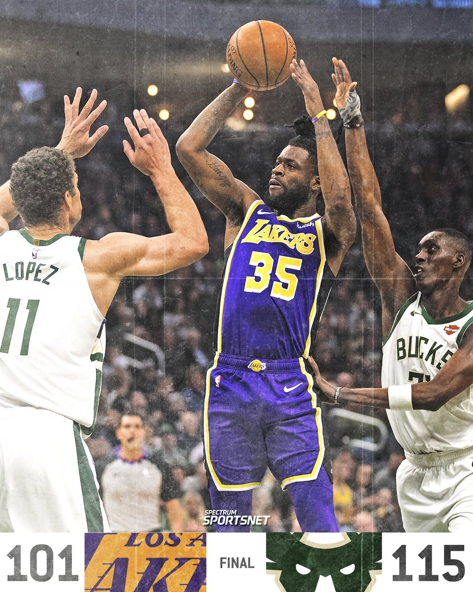 The #Lakers couldn't get the necessary stops down the stretch, fall to the Bucks 115-101.