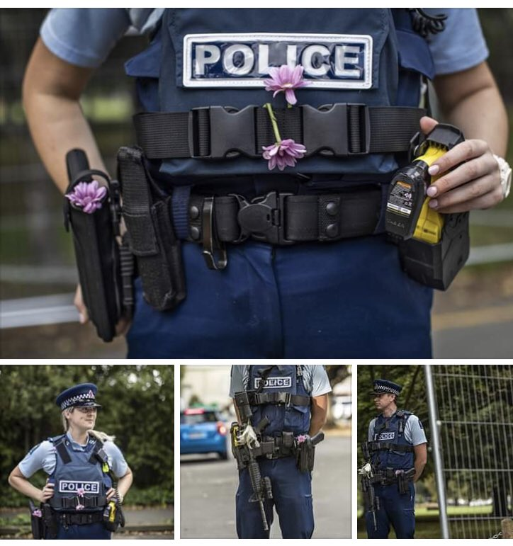 • NZ Police now required to be armed due to the national High Security Risk level are putting flowers in their holsters to take the focus off the firearms.