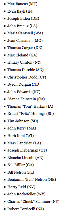 """On the 16th anniversary of the U.S. invasion of Iraq, here's a reminder of the Democratic U.S. Senators who voted """"yae"""" to authorizing the horrific war and occupation."""