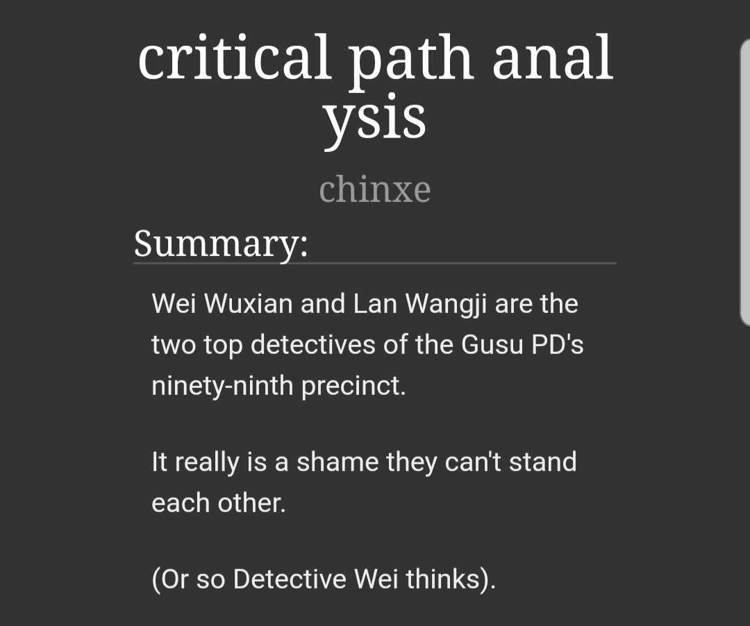 new fic!!! critical path analysis -14.3k words bc I have no self control -b99 au lmaooo -misunderstandings ahoy -feat wwx as jake, lwj as amy, and nhs as gina #MoDaoZuShi #魔道祖师