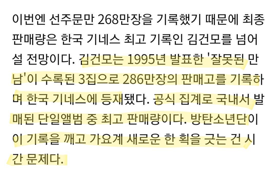 [TRANS ID] - Pre-order album baru @BTS_twt mencapai angka 2.68 juta.  - Guinness record Korea: Album ketiga Kim Gunmo = 2.86 juta album.  Menurut sang reporter, hanya tinggal menunggu waktu bagi #BTS utk memecahkan rekor tsb. Sumber> http://naver.me/G35cpESA  cr. jimin__today - T1