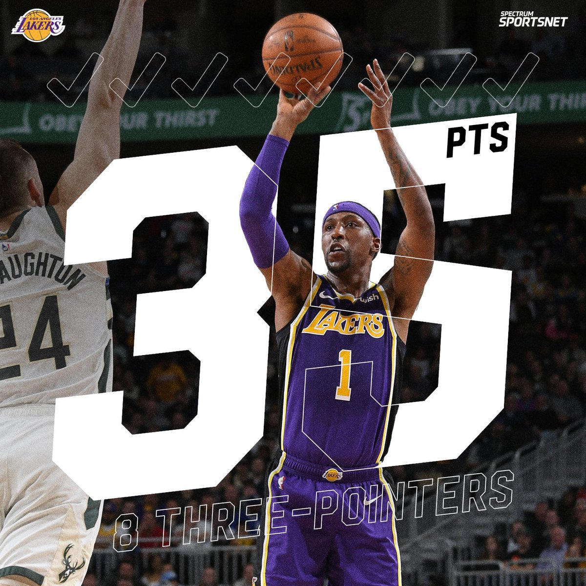 .@CaldwellPope sets his Laker high in points (35) that included EIGHT three-pointers! 🎯