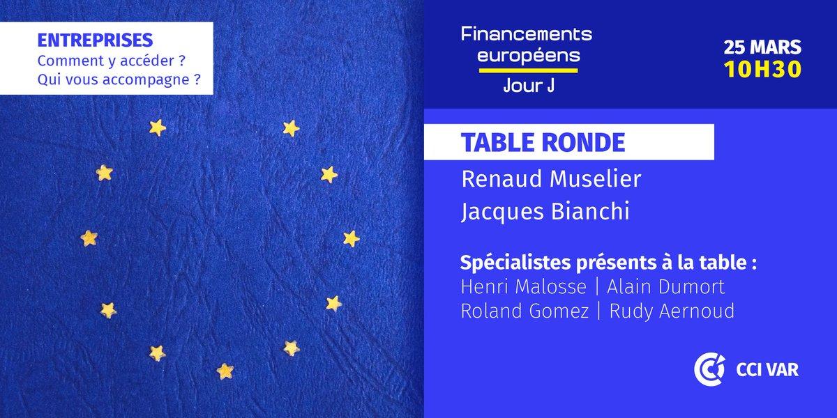 📅25/03 #Toulon Colloque sur les financements européens Table ronde avec @renaudmuselier , @pdt_cciduvar , @alaindumort , @malossehenri ...mais aussi des dirigeants d'entreprises qui témoigneront de leurs expériences avec l' 🇪🇺 ➡http://swll.to/9k7sj6