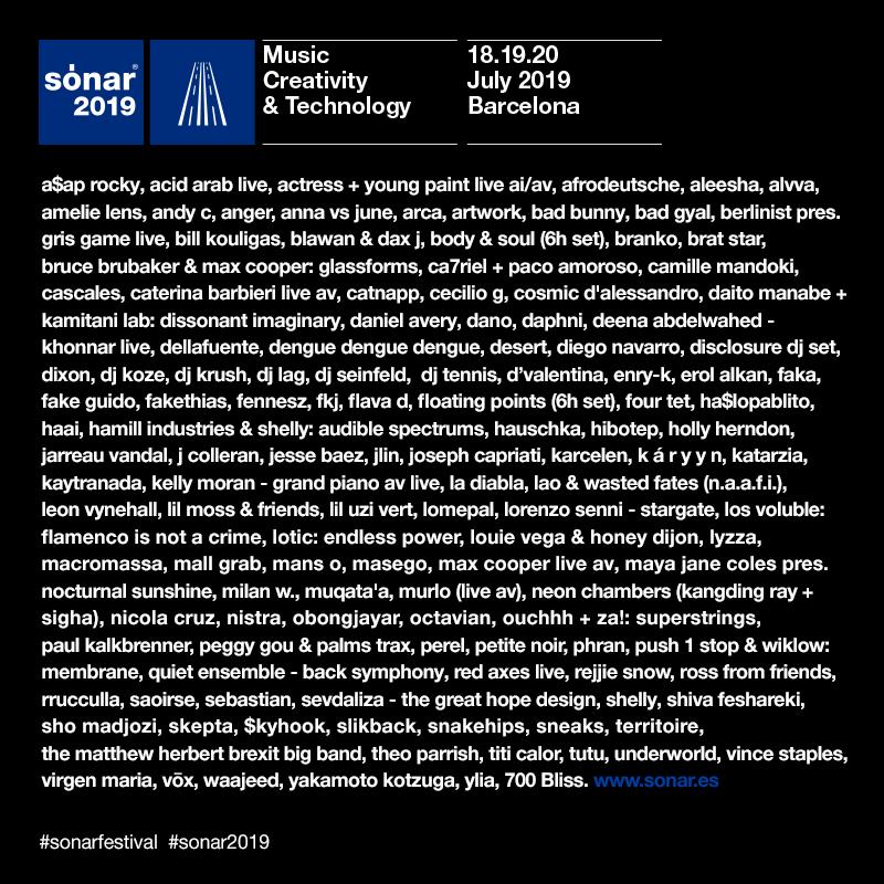 Sónar Barcelona 2019 lineup