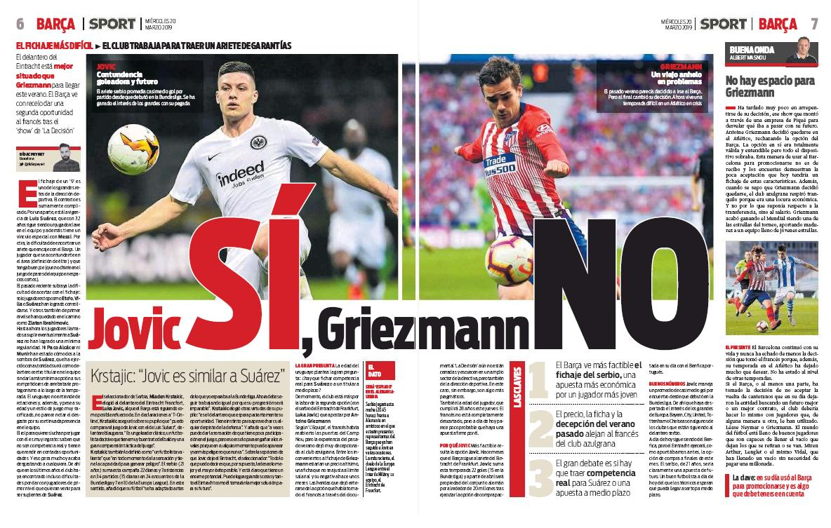 """Sport: """"Yes to Jovic, no to Griezmann."""""""