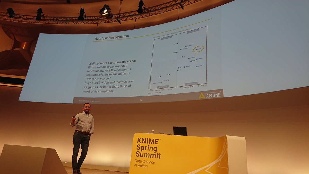 #KNIME still leader in @Gartner_inc magic quadrant for #DataScience platforms #KNIMESummit2019