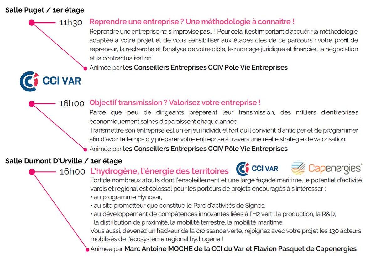 #varup2019♻️ 3 conférences by @CCIduVar  11h30 > Reprendre une entreprise ? Une méthodologie à connaître ! 16h00 > Objectif transmission ? Valorisez votre entreprise ! 16h00 > L'Hydrogène, l'énergie des territoires avec @Capenergies  🔜 http://www.varup.com